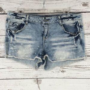 No Boundaries Jeans Distressed Raw Hems Embellish